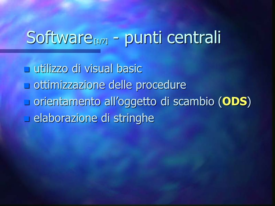 Software [1/7] - punti centrali